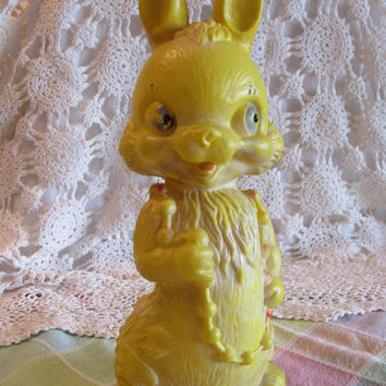Plastic Easter Bunny Decor, Yellow Bunny Rabbit Bank, 1960s Vintage Bunny Rabbit Bank, Repurpose Figurine, laslovelies