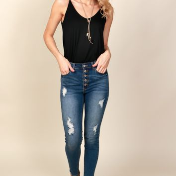 Button Down-Town Skinny Medium