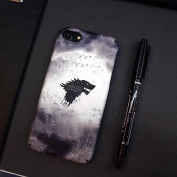 Game of Thrones Stark Wolf Hard PC Full Protection Phone Cases For Apple iPhone 6 6s 7 8 plus X 10 Winter is comming Case Cover