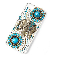 Turquoise Flowers and Antique Gold Elephant Cover for iPhone 5 and 5s