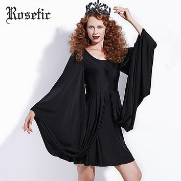 Rosetic Gothic Casual Dress Halloween Black Women Batwing Sleeve Autumn Vintage Dress A-Line Retro Street Wild Dark Goth Dresses