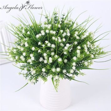 Vivid P.tenuiflora Green Grass plants artificial flower babysbreath simulation flower wedding decoration for home party office
