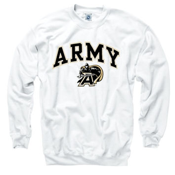 Mens White Army Black Knights Perennial II Crewneck Sweatshirt