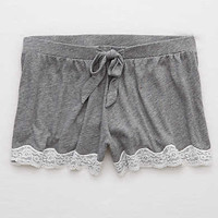 Aerie Lace Hem Boxer, Dark Heather