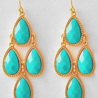 Turquoise Stone Earrings / Matte Gold chandelier