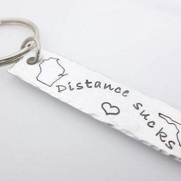 Long Distance State Map Keychain, Distance sucks, Miss your face, long distance love,long distance relationship, going away gift, ldr friend