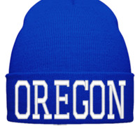 OREGON EMBROIDERY HAT - Beanie Cuffed Knit Cap
