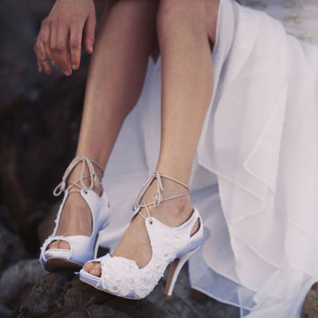 Ladies Vintage Bridal Shoes. Peep Toes with lace Flowers and tie up strings.