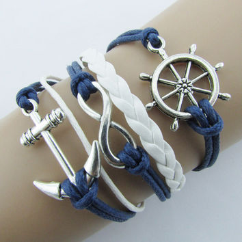 Silver Infinite Bracelet Nautical Rudder Anchor Blue Leather Rope Bangle