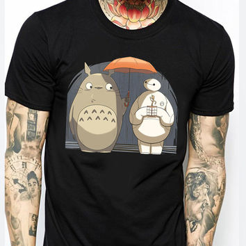 Baymax Totoro And Groot TM Mens T-shirt Black and White