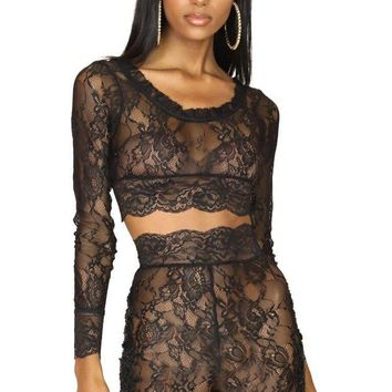 Noir Lace Two Piece Biker Short Set