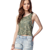 Aeropostale  Womens Camo Crop Tank Top - Green, X-Small