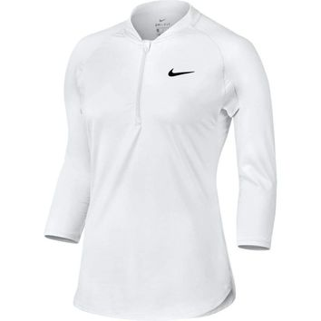 Nike Court Dri-FIT Pure 3/4 Sleeve Half-Zip Tennis Top 799447 White Medium