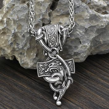 Men Vantage Thor's Hammer Mjolnir Pendant Mammen Style Viking Pendant Necklace Jewelry Scandinavian  Gift Jewelry with Gift Bag
