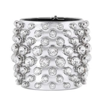 Crystal-embellished metallic leather cuff