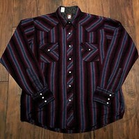 Vintage Black Purple Teal Pink Striped Pearl Snap Button Up Shirt Mens Sz Large
