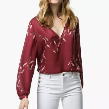 Red Feathers Print V-Neck Long-Sleeve Shirt