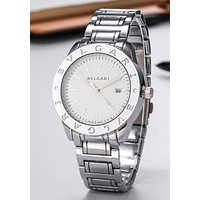 """Bvlgari"" Hot Sale Popular Woman Men Quartz Movement Wristwatch Watch Silvery"