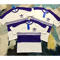 Adidas New Trending Women Men Stylish White Purple Stripe Short Sleeve Round Collar T-Shirt Top I-AA-XDD