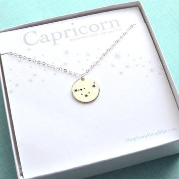 Capricorn Constellation Medallion, Zodiac Necklace, January Birthday, December Birthday, Capricorn Jewelry, Zodiac Necklace, Astronomy