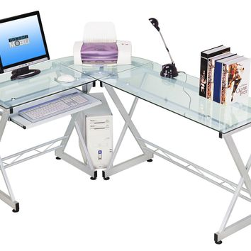 Techni Mobili L-shaped Glass Computer Desk