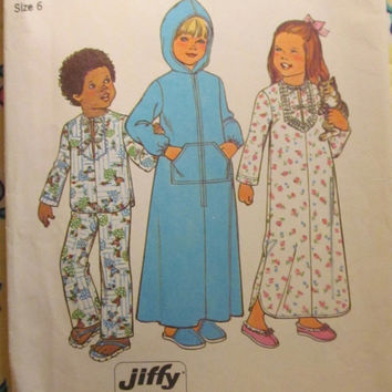 SALE Uncut 1970's Simplicity Sewing Pattern, 7730! Size 6 Girls/Boys/Kids/Child's Jiffy Hooded Robes/Pajamas/Night Gowns/Pants & Shirts/Easy