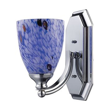 Bath And Spa 1 Light Vanity In Polished Chrome And Starburst Blue Glass