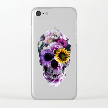 Floral Skull Clear iPhone Case by RIZA PEKER