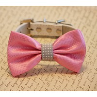 Pink and Gray wedding Dog Bow Tie, Pink Wedding