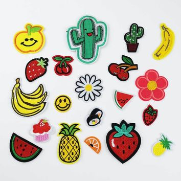 Iron On Embroidery Applique Patches Kids DIY 3D Apple Banana Orange Watermelon Sushi Flower Patches For Clothes Clothing