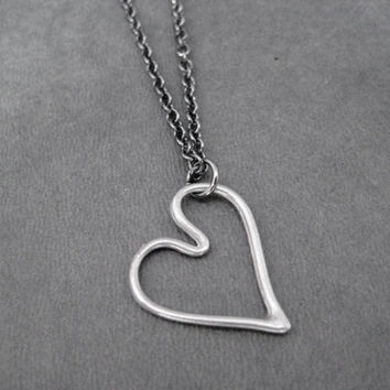 HEART of LOVE Necklace - Pewter Floating Heart on Gunmetal Chain - Heart - Love - Family - Mothers Day - Valentine - Simple Heart Necklace