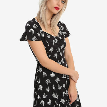 Cat Print Button-Front Dress