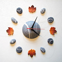 Maple leaves Clock Wall clock without numbers Clock Wall Sticker