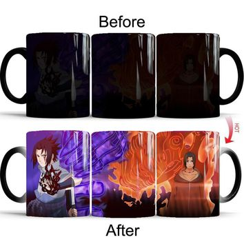 Naruto Sasauke ninja  Sasuke vs Itachi Uchiha Hot Cold Heat Temperature Sensitive Color Changing  Coffee Tea Mug Cup best gift for your friends AT_81_8