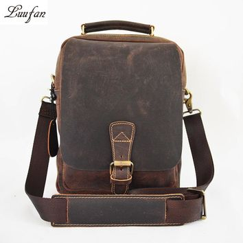 Men's Crazy horse leather messenger bag iPad Real leather tote bag Cow leather crossbody bag durable casual shoulder bag work