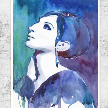 Barbra Streisand, Watercolor painting, illustration, Celebrity Portraits, art print, girl painting,  living room decor