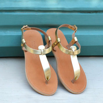 Leather sandals, T-strap women's sandals, Gold sandals, Handmade Greek sandals