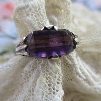 Older Vintage Sterling Filigree Amethyst Crystal Ring