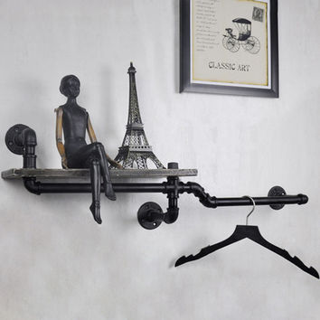1PC Industrial Pipe Decorative Wall Hanging Metal & Wood Shelf Decor