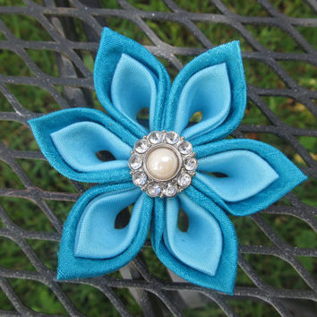 Dog Collar Flower - Blue Silk and blue cotton Kanzashi Dog Collar Accessory Unique Dog Wedding Flower