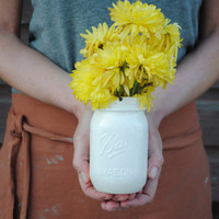 handmade white ceramic ball mason jar cup and vase under 25