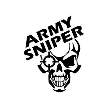 Army Sniper Skull Vinyl Car Sticker Skeleton Cool Car Decal