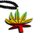 """""""We'd Like To Agree"""" Black Bead Weed Leaf Pendant Necklace"""
