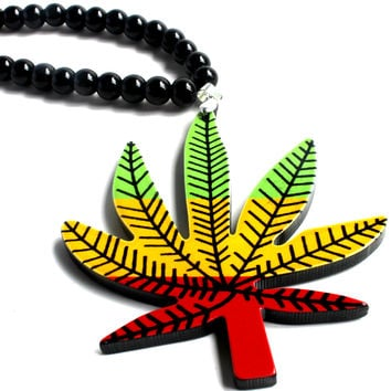 """We'd Like To Agree"" Black Bead Weed Leaf Pendant Necklace"