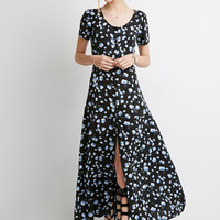 Buttoned Floral Maxi Dress