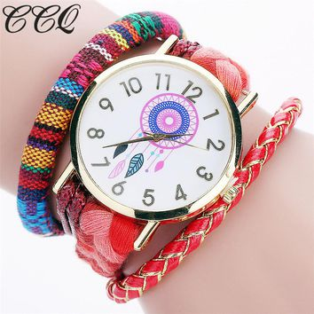 CCQ Brand Handmade Braided Women Dreamcatcher Wrist Watch Fashion Rope Ladies Quarzt Watches Relogio Feminino 2081