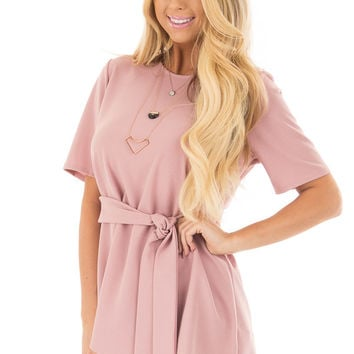 Dusty Rose Asymmetrical Top with Waist Tie