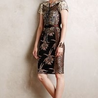 Embroidered Brocade Dress by Byron Lars Neutral Motif