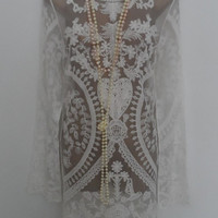 Vintage flapper charleston Great Gatsby style white lace easter holiday ladies tunic dress size Uk 14 Usa 12 Eur 42