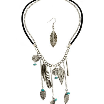 * BURNISH SILVER CHARM NECKLACE & EARRING SET